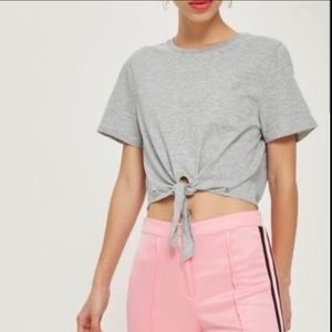 NWT topshop Gray crop T-shirt size 4